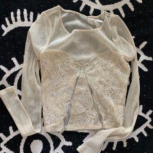 Mesh Shimmer Long Sleeve